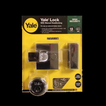 Yale Nightlatch With Manual Deadlocking P85 Chrome 40mm Backset